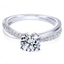 14k White Gold Gabriel & Co. 0.19ct Diamond Engagement Ring