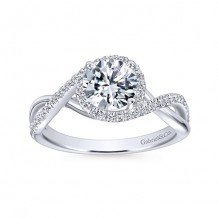 14k White Gold 0.24ct Diamond Gabriel & Co Criss Cross Semi Mount Engagement Ring