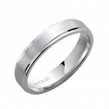 14k White Gold 8.5mm Comfort Fit Brushed Center Wedding Band