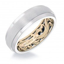 14k Two Tone Gold 7mm Mens Fancy Wedding Band