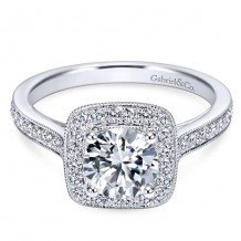 14k White Gold Gabriel & Co. 0.48ct Diamond Engagement Ring