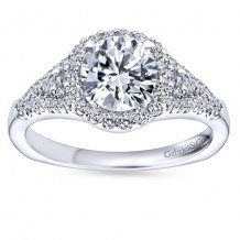 14k White Gold 0.37ct Diamond Gabriel & Co Halo Semi Mount Engagement Ring