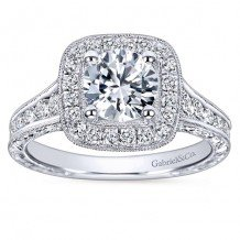 14k White Gold 0.85ct Diamond Gabriel & Co Halo Semi Mount Engagement Ring
