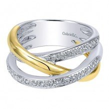 14k White and Yellow Gold Gabriel & Co. Diamond Fashion Ring