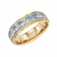 14k Two Tone Gold Men's 6mm Hammered Center Wedding Band