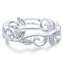14k White Gold Gabriel & Co. Diamond Stackable Ring
