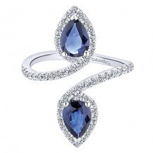 14k White Gold Gabriel & Co. Sapphire and Diamond Fashion Ring