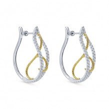 14k Two Tone Gold Gabriel & Co. Diamond Hoop Earrings
