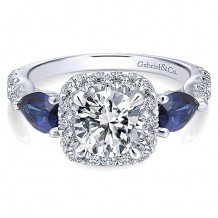 14k White Gold 0.74ct Diamond and 0.98ct Sapphire Gabriel & Co Halo Semi Mount Engagement Ring
