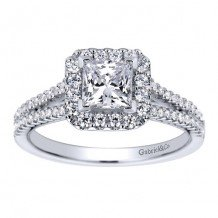 14k White Gold 0.35ct Diamond Gabriel & Co Halo Semi Mount Engagement Ring