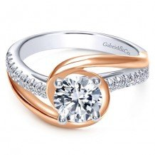 14K White and Pink Gold 0.20ct Diamond Engagement Ring