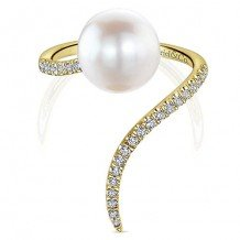 14k Yellow Gold Gabriel & Co. Diamond Pearl Fashion Ring