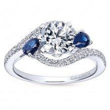 14k White Gold 0.68 ctw Diamond and Sapphire Gabriel & Co Bypass Semi Mount Engagement Ring